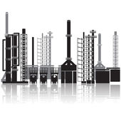 Oil refinery, pipelines, tanks, petrol, gas — Stock Vector