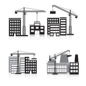 Icon construction: crane, house, machine, factory — Stock Vector
