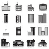 Icons city buildings, offices, schools — Stock Vector