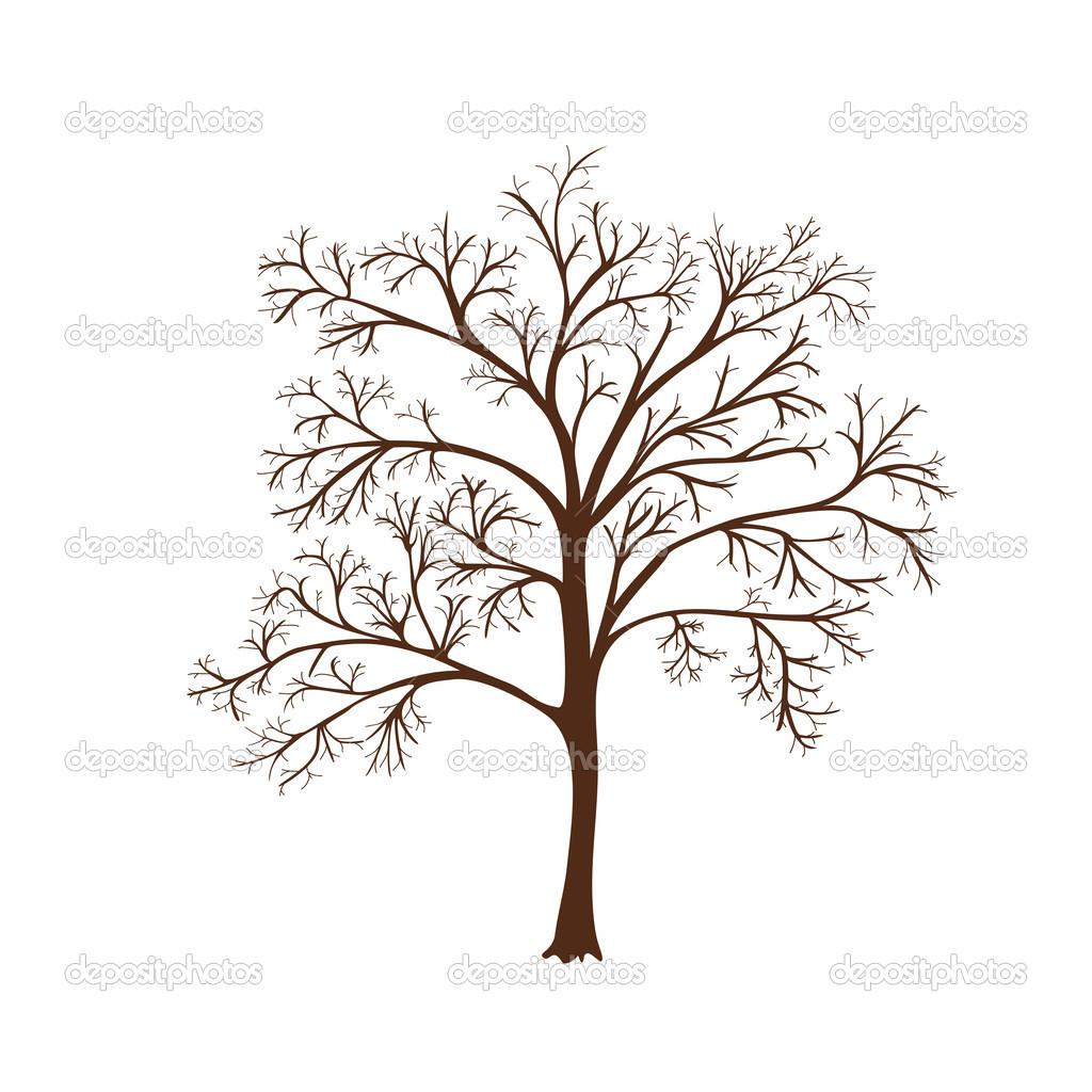 Silueta del icono de un árbol sin hojas — Archivo Imágenes ...