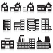Set of buildings: office, house, factory — Stock Vector