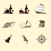 Pirate icons: ship, treasure chest, compass — Stock Vector