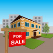 House for sale sign and wooden — Cтоковый вектор