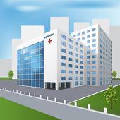 Hospital building on a city street — Stock Vector