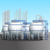 Refinery tank farm with pipeline — Stock Vector