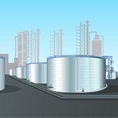 Raffinaderij verticale stalen tank boerderij met pijpleiding — Stockvector