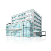 City hospital building with reflection — Stock Vector