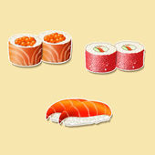 Japanese cuisine, sushi with fish, roe — Stock Vector