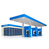 Petrol station with a small shop and reflection — Vector de stock