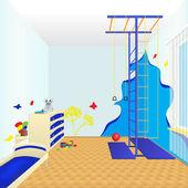 Camera bambini con letto e cassettiera — Vettoriale Stock