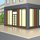 Building with storefronts and entrance — Stock Vector