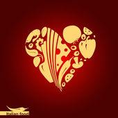 Italian food - heart shape with vector food icons — Stock Vector