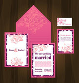 Beautiful wedding invitation cards with butterflies — Stock Vector