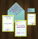 Set of wedding invitations and announcements — Stock Vector