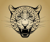 Angry leopard. Creative illustration — Stockvektor