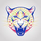 творческие цвета иллюстрации леопард — Cтоковый вектор