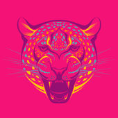 Awesome portrait of leopard — Stock Vector