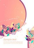 Gentle background with butterflies — Stock Vector