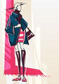 Mode illustration flicka — Stockvektor