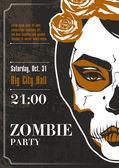 党のポスター。ゾンビの女の子 — ストックベクタ