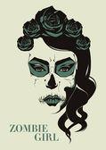 Vector zombie girl — Stock Vector
