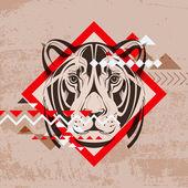 Fashion vector illustration of a lionnes's head — Vector de stock