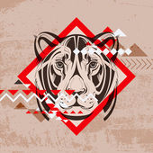 Fashion vector illustration of a lionnes's head — Stock Vector