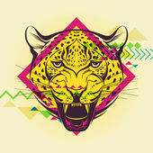 Creative illustration of a leopard — Stok Vektör
