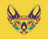 Creative illustration of a cat's head — Stockvektor