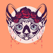 Fashion portrait of cat in a wreath of roses and beads — Vector de stock