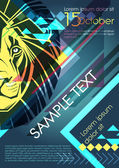 Design template with lion and place for text. Festival poster — ストックベクタ