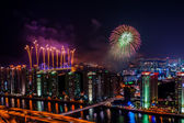 Fireworks over the City — Stock Photo