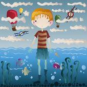 Boy under water — Stock Vector