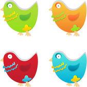 Four colored birds — Vector de stock