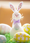 Eastern bunny with eggs — Stock Photo