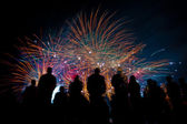Big fireworks with silhouettes of people watching it — Stock Photo