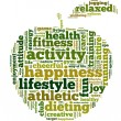 Conceptual illustration of tag cloud containing words related to healthy lifestyle — Stock Vector