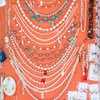 Handmade jewelry with prices on display offered to tourists in Zadar, Croatia — Stock Photo