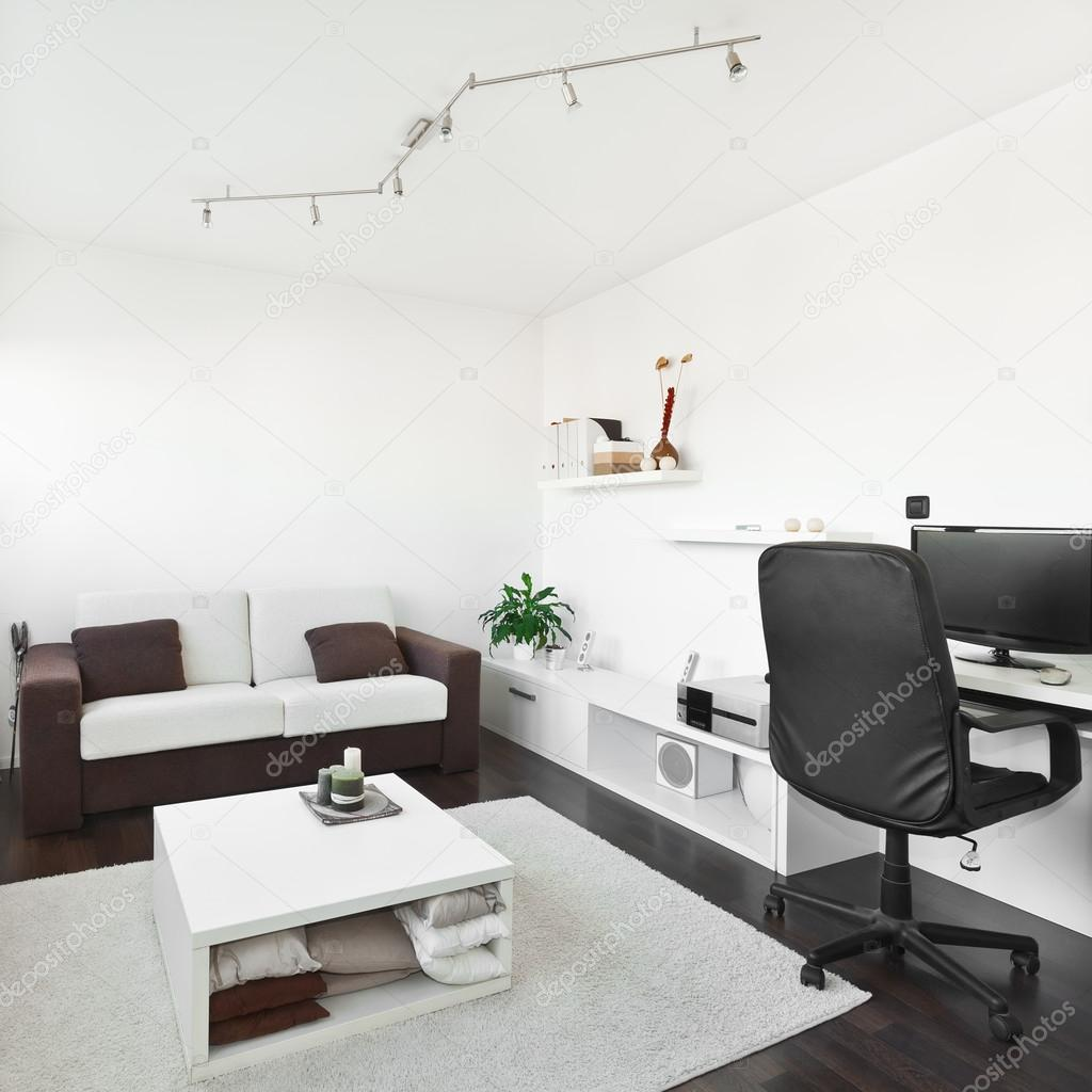 Modern Living Room With Computer Desk And The Screen Sofa And T Stock Photo Deymosd 38867425