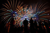 Big fireworks with silhouettes of people watching it — Stockfoto