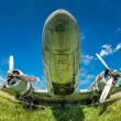 Fisheye view of the remains of an abandoned Dakota DC3 aircraft — Stock Photo #47291295