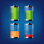 Glossy transparent battery icons for any non-white background — Stock Vector