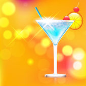 Cocktail on shiny background — Stock Vector
