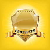 Glossy security golden shield - PROTECTED — Stock Vector