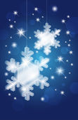 Transparent glass snowflakes on christmas shiny background — 图库矢量图片