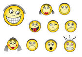 Set of smiley faces — Stock Vector