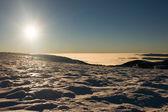 View of a sunset on winter mountain ridge — Zdjęcie stockowe