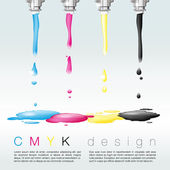 Four nozzles with CMYK colors - CMYK print concept — Stock Vector