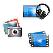 Set of glossy media icons - photo, music, video — Stock Vector