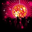 Party design with dancing people, disco-ball and glitters — Stock Vector